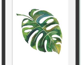 Tropical Print Watercolor Leaf Minimalist Print Wall Decor Digital Print Botanical Poster Tropical Leaf