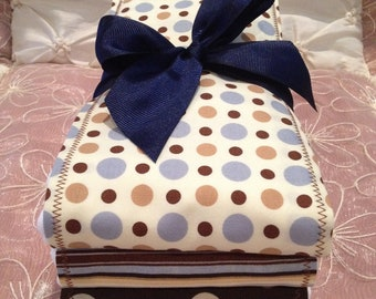 NEW ITEM ADORABLE Baby Boy Burp Cloth Set of 3 Boutique Style 6-ply Blue Beige Brown Polka Dots Stripes Shower Gift Christmas Monogrammable