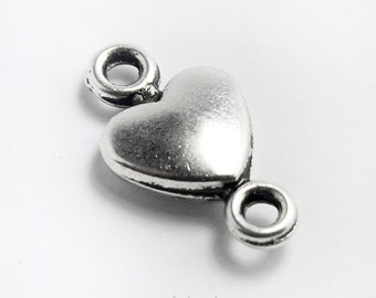 Set of 4 Small Silver Heart Connector, Jewelry Link  #M186