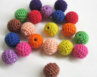 Crocheted beads 16 mm - round handmade beads, colorful mix, 20 pc