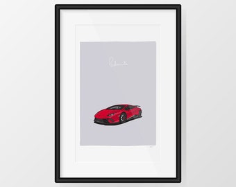Lamborghini Huracán Performante - Red Print Illustration