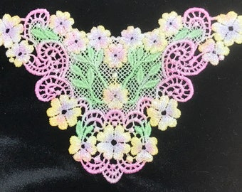 Hand Painted Venice Lace Applique BoNuS! FREE BUTTERFLY hand dyed lace embellishment Crazy Quilt Scrapbooking Victorian Trim Mixed Media