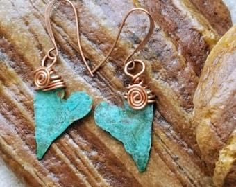 Verdigris Heart Earrings - Copper Heart Earrings - Green and Copper Earrings - Birthday Gift- Gift For Her - Romantic Christmas - Hearts