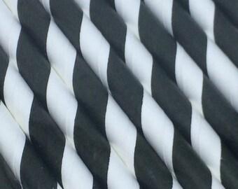 25pk Black & White Paper Straws