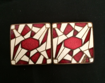 Vintage 1930s Red and White Enameled Art Deco Belt Buckle