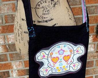 Skull El Dia De Los Muertos Upcycled T-Shirt Denim Crossbody Purse Bag Ready to Ship