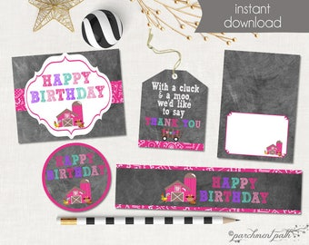 Farm Birthday Printable Party Set - Favor Tags, Party Sign, Cupcake Toppers, Water Labels, Party Tents - Instant Download - Farm Party