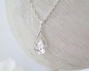 Dainty crystal necklace, Swarovski teardrop filigree necklace, Simple wedding necklace, Crystal bridal pendant, Bridesmaid necklace