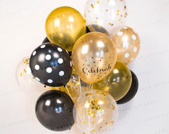 Confetti Balloon Celebration Gold & Black, Set Of 0/40 Ready to Inflate - AU Free Shipping