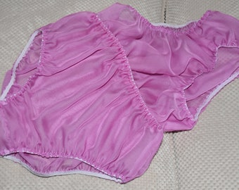 SSXC E - Soft sheer pink panties inside panties, no frills for unobtrusive everyday wear, Sissy Lingerie