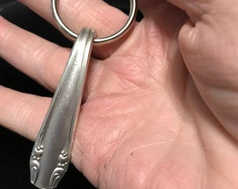Handmade vintage silver plate silverware handle keychain with a split ring