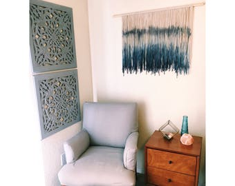 Wall Hanging Boho Tapestry Ombre Dip Dye Tapestry Fiber Art Wall Hanging Boho Wall Hanging