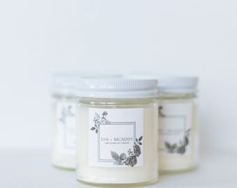 Rosemary + Peppermint + Lemon | 100% Soy Candle & Essential Oil | 8oz Reusable Glass Jar