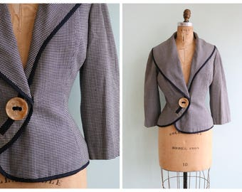 Vintage 1950's Lilli Ann Houndstooth Jacket  | Size Small