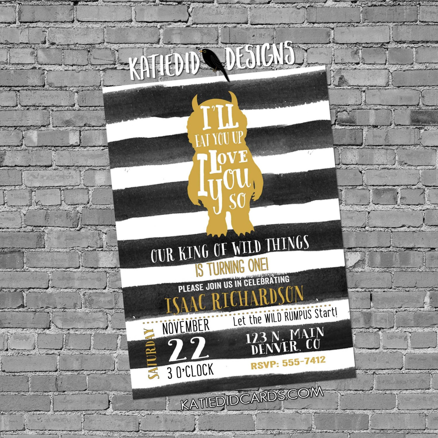 Where the wild things are birthday invitation one two rumpus black ...