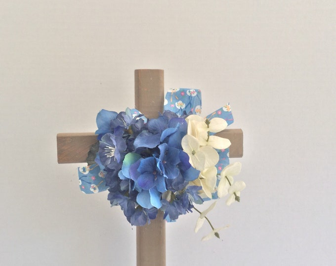 Cemetery cross, blue cemetery flowers, grave decoration, memorial cross, Floral Memorial, grave marker, in memory of