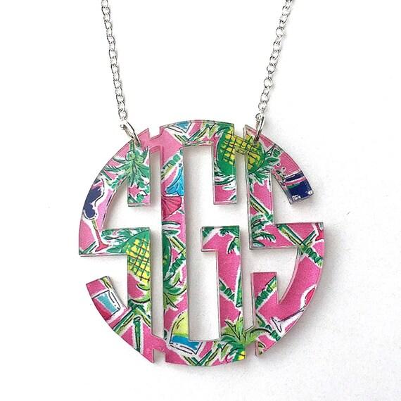 monogram acrylic necklace custom designs monogram necklace