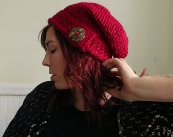 Chunky Knit Button Hat--Cranberry