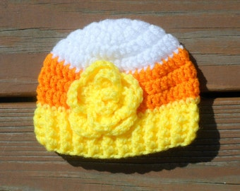 Candy Corn Hat, Flower Hat, Halloween Beanie, Girl Costume, Newborn Girl Prop, Costume Hat, Halloween Props, Photo Props for Kids, Baby Item