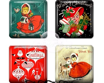 Vintage Retro Christmas 1 x 1 Inch Digital Collage Sheet Square Tile Images for Scrapbooking, Jewelry Making Card Making