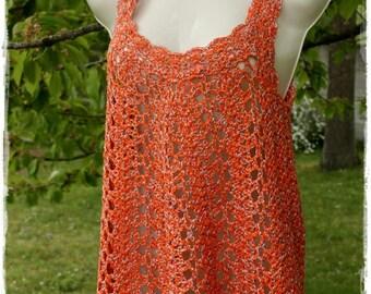 Gypsy Bohemian t-shirt women orange crochet top, size 40/42 cotton. Size US 8/10.