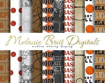 BASKETBALL digital paper, hoops, rebound, slam dunk, teammates, basketballs, basketball game, printable pdf, INSTANT DOWNLOAD