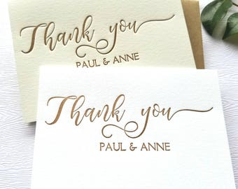 Personalized Wedding Thank You Cards Letterpress Rose Gold