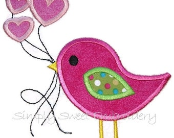 Valentine Bird Balloons Applique Design