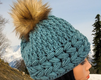 Slouchy beanie hat with pompom Winter crochet hat Womens hats Slouchy hat pattern Chunky hat Crochet hat gift for women hat beanie pattern