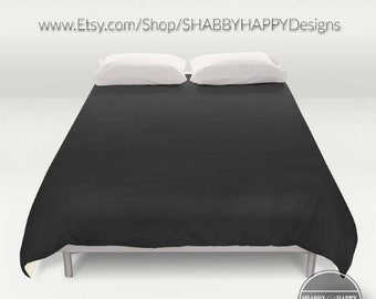 Solid Color BLACK night /Choice of Duvet Cover or Comforter / Bedding Minimalist Modern Basic Art Sizes Twin, XL Twin, Full, Queen, & King