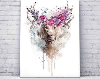 Digital Art Print on Canvas, Weimaraner, Dog Portrait, Peony