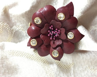 "Rhinestone Studded Leather Flower Cuff Bracelet - Burgundy - Mixed Metal tones -Snaps 7""-7.5""-8"" - High Vibrance Sparkle - Hip/Boho"