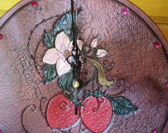 leather tooled wall clock uk tooled clock floral wall clock