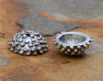 Antique Silver 9mm Urchin Bead Cap  -   9 x 12 x 5mm  Fine Silver Plated Pewter