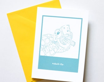 Turtle Shell-fie Greeting Card Folded A6 Stationary