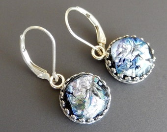 Purple, Blue and Silver Dichroic Glass Earrings with Sterling Silver Gallery Bezel Setting and Sterling Leverback Earwires