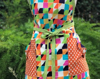 Squares and Dots  - Retro Apron – Woman's Full Apron – AmberCourtDesigns