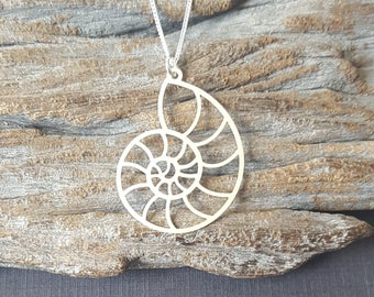 Sterling Silver Nautilus Necklace, Nautical Charm, Ocean Themed Charm, Beach Charm