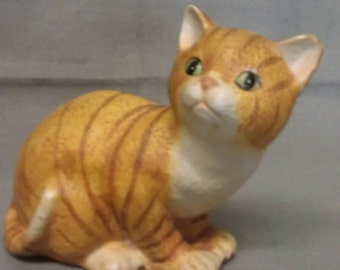 Tan and Beige with Stripes Cat with Green Eyes Cat Figurine