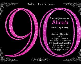 90th Birthday Invitation. Adult Pink Glitter Birthday Invitation. Women Birthday Party. Adult Surprise Birthday.Elegant. - Printable DIY