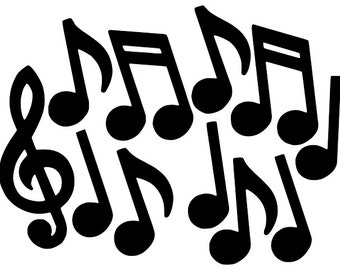 Music Notes vector - Stave Vector - Digital Download File - Cutting File - Dxf Dwg Svg  - suitable for Silhouette