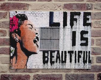 "Banksy, Life is Beautiful (11"" x 16"") - Canvas Wrap Print"