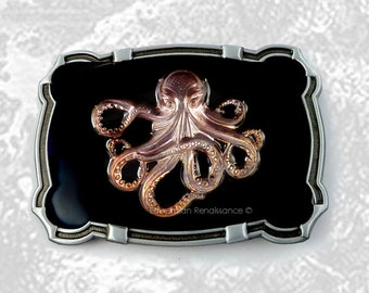 Steampunk Large Belt Buckle Oxidized Octopus Inlaid in Hand Painted Black Enamel Neo Victorian Fantasy Inspired Custom Colors Available