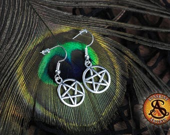 Pentagram earrings, dangle earrings, Pagan, Wiccan, Gothic jewellery, Tibetan silver charms, surgical steel or silver plated ear wires