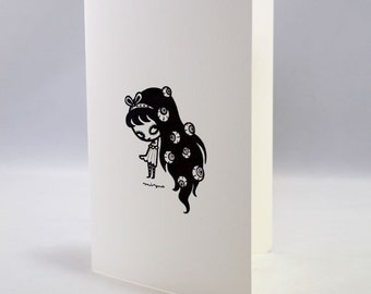 Eyeball girl - Note Card Single Blank Notecard