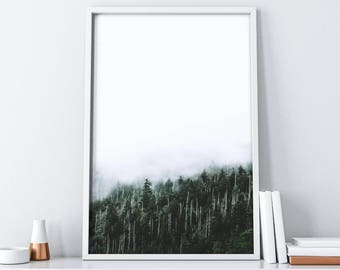 Nature Inspired Wall Art| Printable Forest Art| Trees Wall Decor| Woodland Print| Foggy Forest Wall Print| Mountains Wall Art| Home Decor