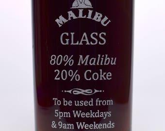 Engraved/Personalised % MALIBU HighBall Glass Gift For Mothers Day/Valentines Day/Girls/Men/Ladies/Women/Birthday/Christmas/Mum/Dad/Nanny