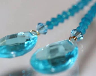 Aquamarine Earrings, Aqua Swarovski Crystals, Aqua Faceted Teardrop Earrings