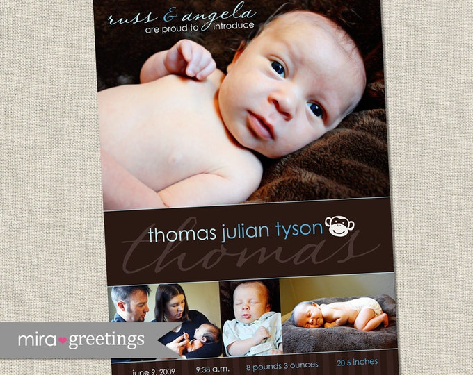 Monkey Birth Announcement - brown baby birth announcement - photo collage announcement - picture birth - printable digital file