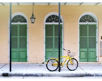 New Orleans photography, French Quarter, Louisiana, yellow bicycle, NOLA, architecture print, travel photography, fine art photography
